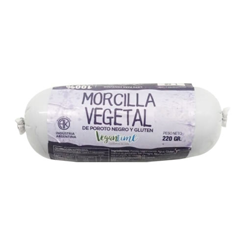 Vegantime Morcilla Vegetal de Poroto Negro x 220 Grs - El Banquito